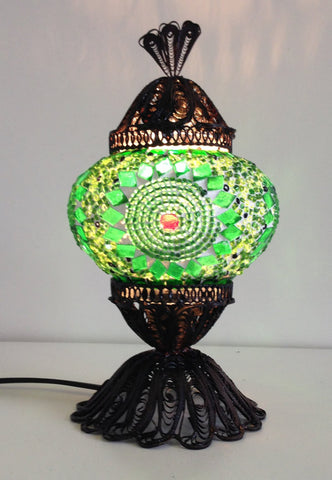 Green Turkish Mosaic Lamp with Hand crafted Copper Base - Sophie's Bazaar - 1