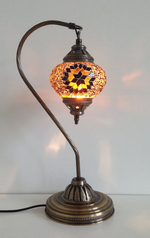 Turkish Mosaic Lamp with vintage style Swan neck metal base - Sophie's Bazaar - 1