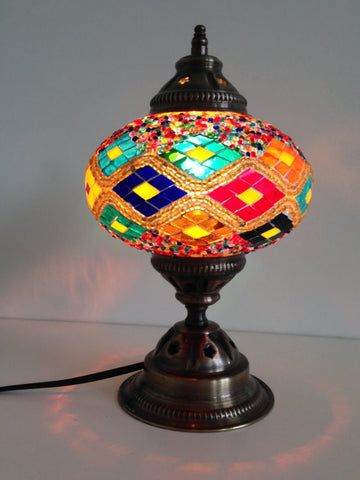 Turkish mosaic lamp with Kilim Design and vintage look metal base - Sophie's Bazaar - 1