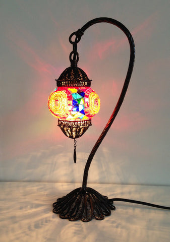 Colorful Turkish Boho mosaic lamp with hand crafted copper base - Sophie's Bazaar - 1