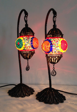 Set of 2 Colorful Stylish Bohemian mosaic lamps with hand crafted copper base - Sophie's Bazaar - 1