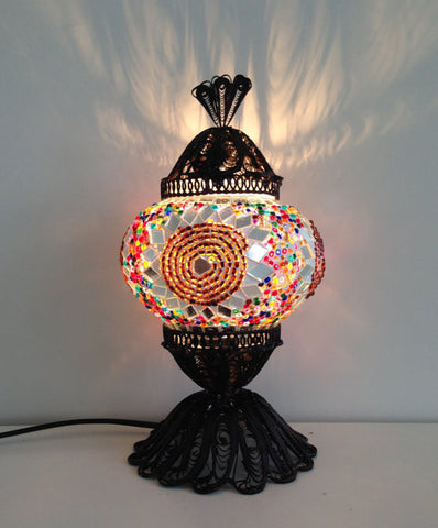 Small authentic Turkish Mosaic lamp with hand crafted copper base - Sophie's Bazaar - 1