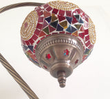 Red and Gold Swan Neck Mosaic Lamp With Vintage Look Base - Sophie's Bazaar - 5