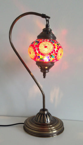 Red and Gold Swan Neck Mosaic Lamp With Vintage Look Base - Sophie's Bazaar - 1