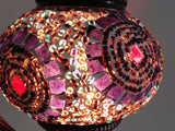 Purple & Pink Swan Neck Mosaic Lamp With Vintage Look Square Base - Sophie's Bazaar - 4