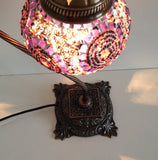 Purple & Pink Swan Neck Mosaic Lamp With Vintage Look Square Base - Sophie's Bazaar - 5