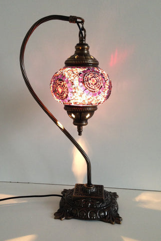 Purple & Pink Swan Neck Mosaic Lamp With Vintage Look Square Base - Sophie's Bazaar - 1