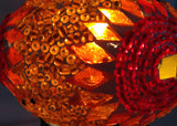 Orange Turkish Mosaic lamp with hand crafted copper base - Sophie's Bazaar - 4
