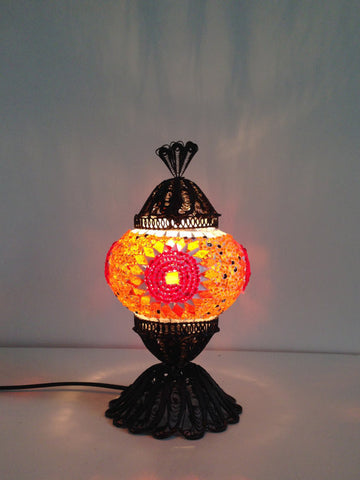 Orange Turkish Mosaic lamp with hand crafted copper base - Sophie's Bazaar - 1