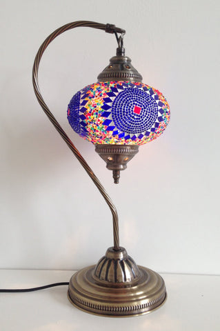 Blue Bohemian Mosaic lamp with vintage look Swan neck metal base - Sophie's Bazaar - 1