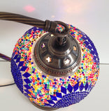 Blue Bohemian Mosaic lamp with vintage look Swan neck metal base - Sophie's Bazaar - 5