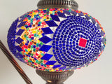 Blue Bohemian Mosaic lamp with vintage look Swan neck metal base - Sophie's Bazaar - 4