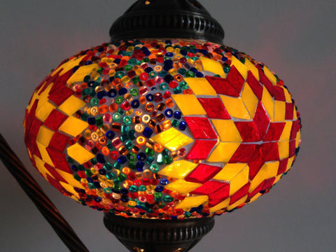Yellow and Red Swan Neck Turkish Mosaic lamp with a vintage look metal base - Sophie's Bazaar - 1