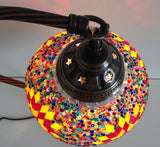 Yellow and Red Swan Neck Turkish Mosaic lamp with a vintage look metal base - Sophie's Bazaar - 5