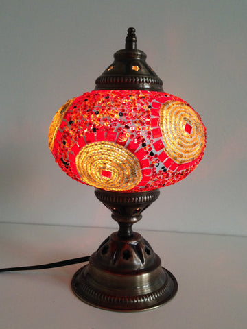 Gold and Orange Turkish mosaic lamp with vintage look metal base - Sophie's Bazaar - 1