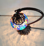 Traditional Blue Turkish Boho mosaic lamp with hand crafted copper base - Sophie's Bazaar - 2