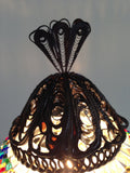 Authentic Golden Turkish Mosaic lamp with hand crafted copper base - Sophie's Bazaar - 5