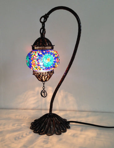 Traditional Blue Turkish Boho mosaic lamp with hand crafted copper base - Sophie's Bazaar - 1