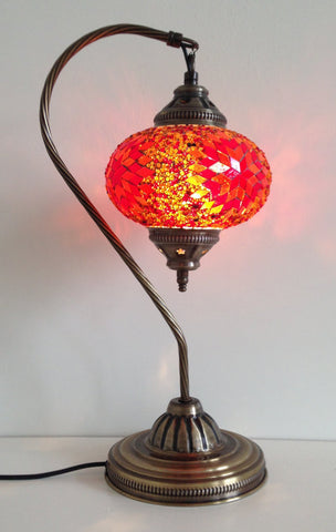Burnt Orange Swan Neck Turkish Mosaic lamp with vintage look metal base - Sophie's Bazaar - 1