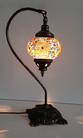 Turkish Swan Neck Mosaic Lamp With Gold & silver colors - Sophie's Bazaar - 1