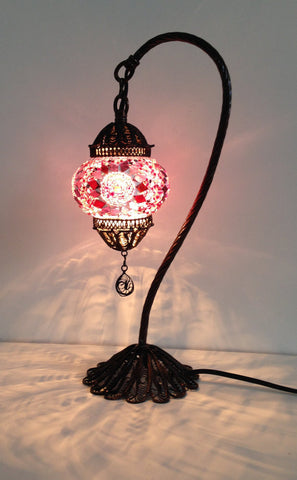 Pink Turkish & Stylish Boho mosaic lamp with hand crafted copper base - Sophie's Bazaar - 1
