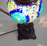 Blue bedside Mosaic Lamp With Vintage Look Square Base - Sophie's Bazaar - 4