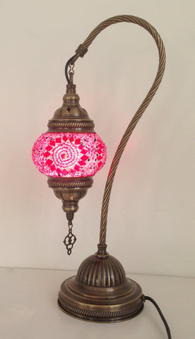 Pink Life Design swan neck mosaic lamp with vintage look bronze plated base - Sophie's Bazaar - 1