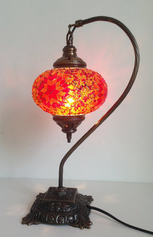 Pretty Orange Mosaic Lamp With Vintage Look Square Base, Turkish Desk lamp - Sophie's Bazaar - 1