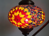 Yellow and Red Turkish hand made Mosaic Table Lamp - Sophie's Bazaar - 4