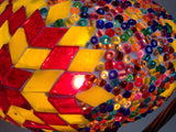 Yellow and Red Turkish hand made Mosaic Table Lamp - Sophie's Bazaar - 3