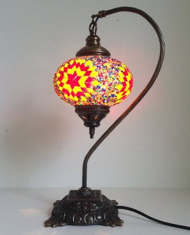 Yellow and Red Turkish hand made Mosaic Table Lamp - Sophie's Bazaar - 1