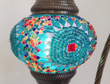 Turquoise Swan Neck Mosaic Lamp With Vintage Look Bronze Plated Base - Sophie's Bazaar - 3