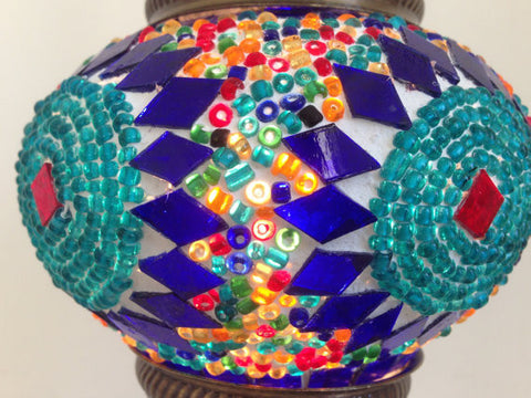 Turquoise and Royal Blue Turkish Mosaic Lamp - Sophie's Bazaar - 1