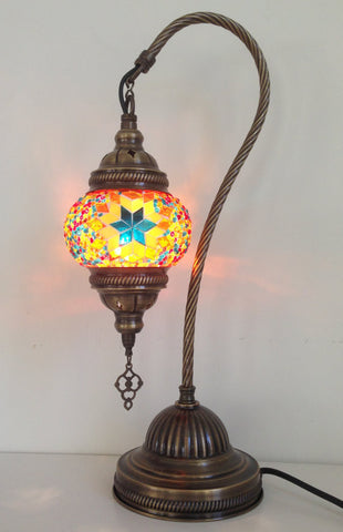 Yellow swan neck mosaic lamp with vintage look bronze plated base - Sophie's Bazaar - 1