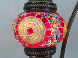 Red and Gold swan neck mosaic lamp with vintage look bronze plated base - Sophie's Bazaar - 2