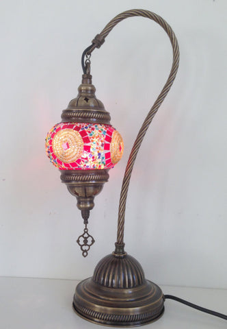 Red and Gold swan neck mosaic lamp with vintage look bronze plated base - Sophie's Bazaar - 1