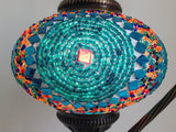 Turquoise Swan Neck Mosaic Lamp With Vintage Look Square Base - Sophie's Bazaar - 2
