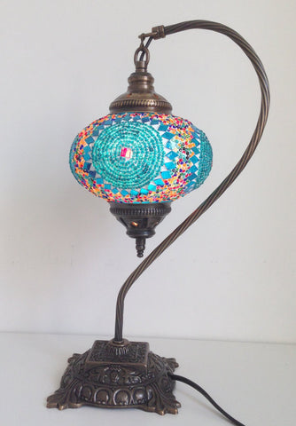 Turquoise Swan Neck Mosaic Lamp With Vintage Look Square Base - Sophie's Bazaar - 1