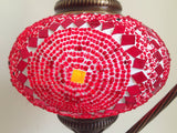Red Swan Neck  Mosaic Lamp With Vintage Look Square Base - Sophie's Bazaar - 2