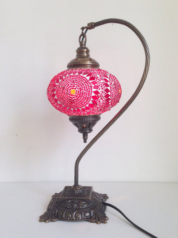 Red Swan Neck  Mosaic Lamp With Vintage Look Square Base - Sophie's Bazaar - 1