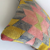 Decorative Kilim Pillow with Pink medallion - Sophie's Bazaar - 4
