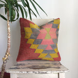 Decorative Kilim Pillow with Pink medallion