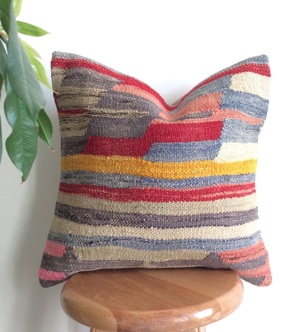 Blue Kilim Pillow cover with Stripes - Sophie's Bazaar - 1