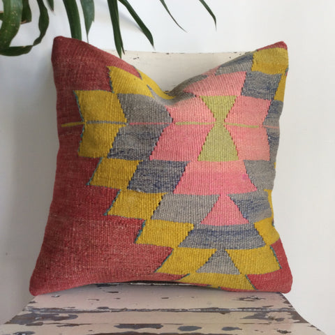 Decorative Kilim Pillow with Pink medallion - Sophie's Bazaar - 1
