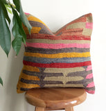 Blue Kilim Pillow cover with Stripes - Sophie's Bazaar - 2