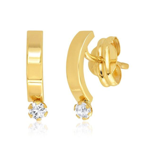 gold curved thin bar earrings with white topaz