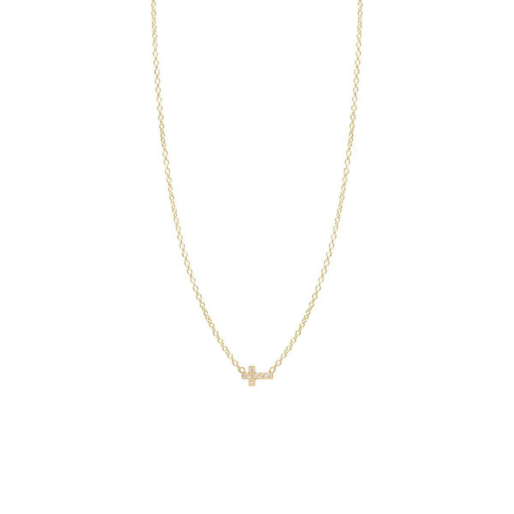zoe chicco 14k itty bitty pave diamond cross necklace
