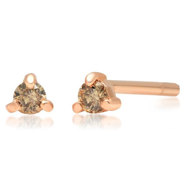14k rose gold diamond studs
