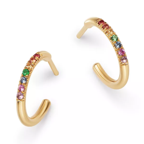 zoe chicco 14k thick huggie hoops with 7 rainbow sapphires set in the middle