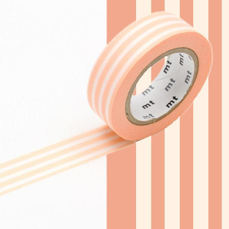 washi stripe border peach